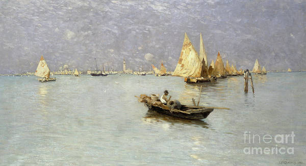 Wall Art - Painting - Sailing Boats In Venetian Lagoon by Guglielmo Ciardi