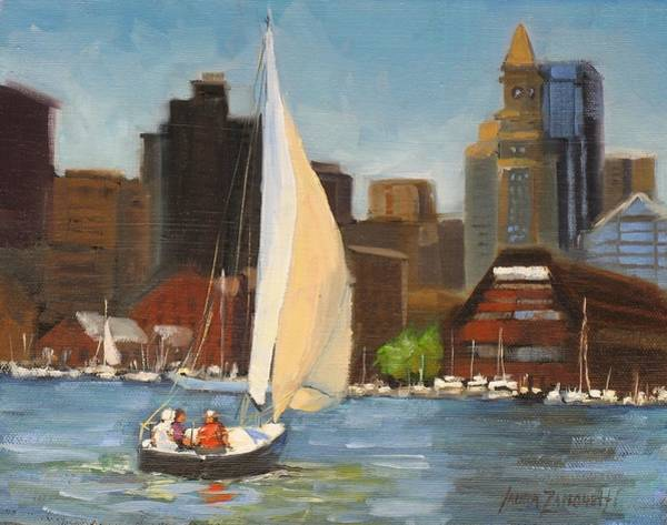 Wall Art - Painting - Sailing Boston Harbor by Laura Lee Zanghetti