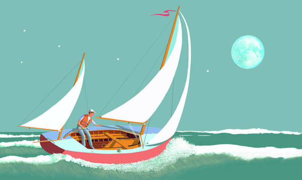 Sails Digital Art -  Moonlight Sail by Gary Giacomelli