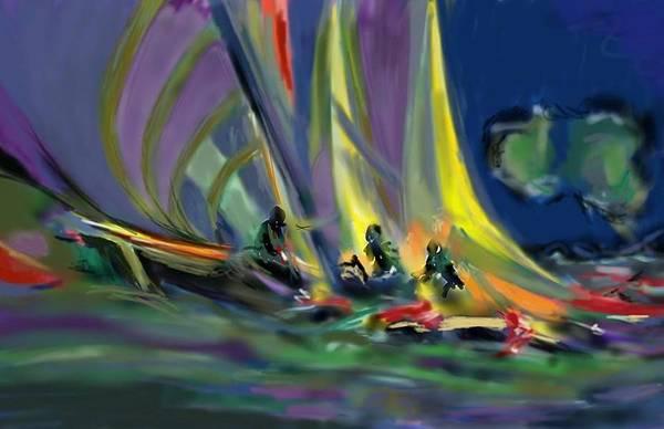 Speed Boat Digital Art - Sailing by Darren Cannell
