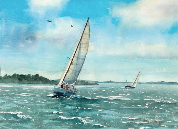Wall Art - Painting - Sailing Harbor Islands by Laura Lee Zanghetti
