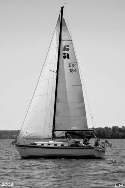 Photograph - Sailing Horizontal Black And White by Lisa Wooten