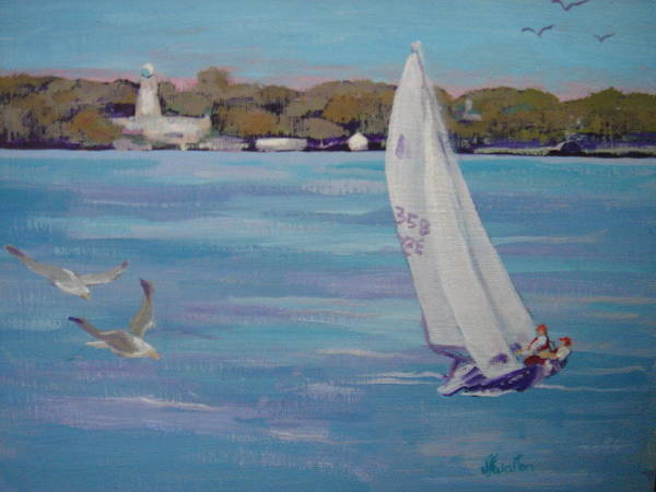 Painting - Sailing In Front Of Lonz Winery by Judy Fischer Walton