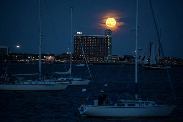 Photograph - Sailing In Front Of The Moon Boston Harbor Full Moon 2 by Toby McGuire
