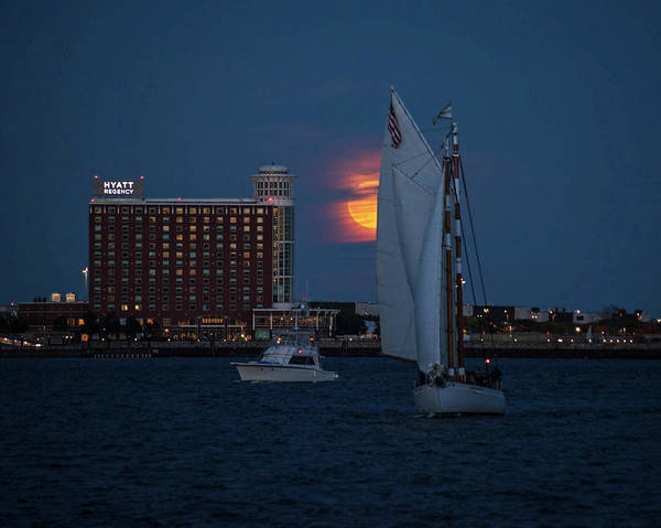 Photograph - Sailing In Front Of The Moon Boston Harbor Full Moon by Toby McGuire