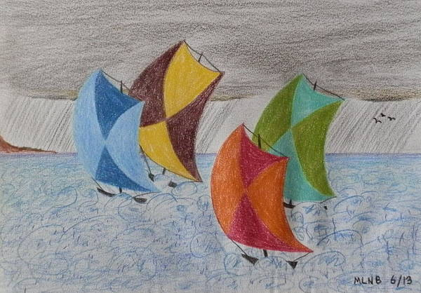 Primary Colors Drawing - Sailing In The Caribbean Rain by Margaret Brooks