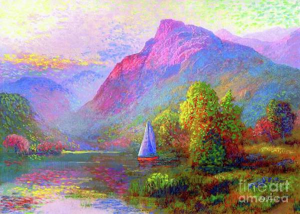 Vibrant Color Wall Art - Painting -  Sailing Into A Quiet Haven by Jane Small