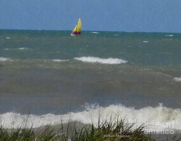 Photograph - Sailing Near Wilmette Beach by Kathie Chicoine