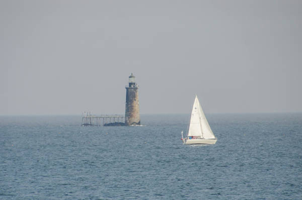 Photograph - Sailing Off Ram Island Ledge Light Station - Cape Elizabeth Main by Bill Cannon