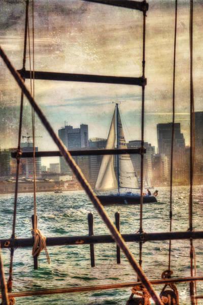 Photograph - Sailing On Boston Harbor - Vintage by Joann Vitali