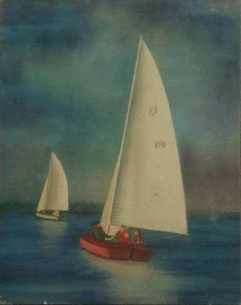 Painting - Sailing On Hoover Reservoir by Frank Hunter