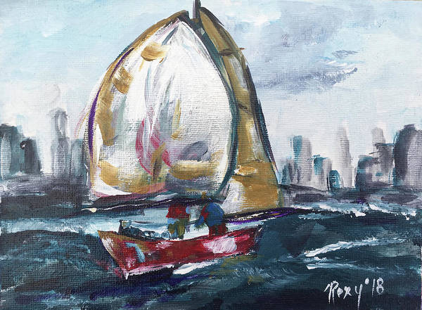 Transportation Painting - Sailing On The Hudson by Roxy Rich