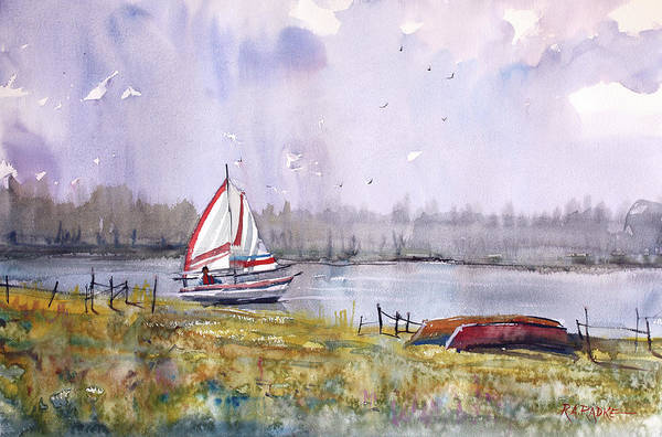 Impressionistic Sailboats Painting - Sailing On White Sand Lake by Ryan Radke