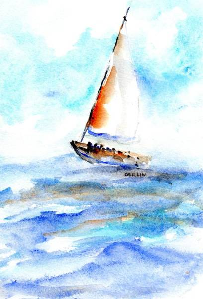 Set Sail Painting - Sailing Out Sailboat Watercolor by Carlin Blahnik CarlinArtWatercolor