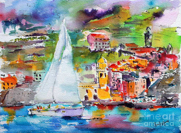 Painting - Sailing Past Vernazza Italy by Ginette Callaway