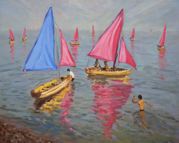 Macara Wall Art - Painting - Sailing School by Andrew Macara