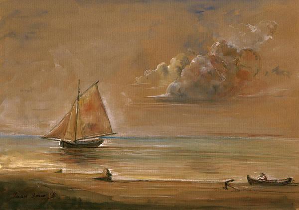 Nautical Painting - Sailing Ship At Sunset by Juan  Bosco