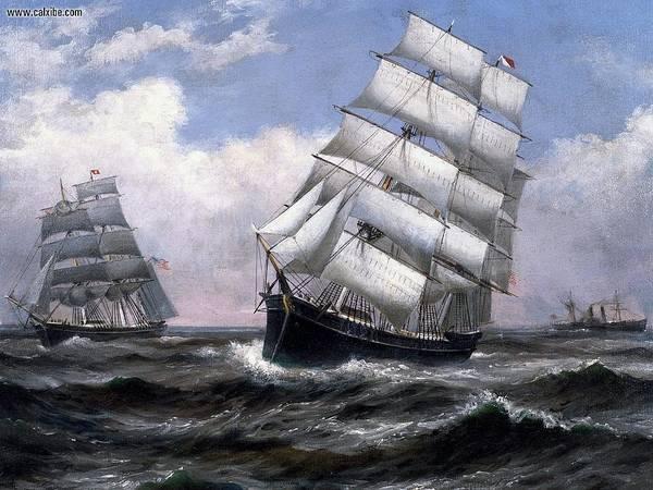 Transportation Digital Art - Sailing Ship by Super Lovely