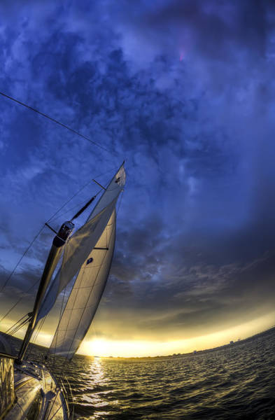 Wall Art - Photograph - Sailing Sunset Beneteau 49 Yacht by Dustin K Ryan