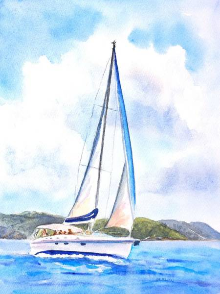 Painting - Sailing The Islands 2 by Carlin Blahnik CarlinArtWatercolor