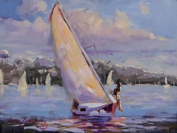 Wall Art - Painting - Sailing The Islands Of Boston by Laura Lee Zanghetti