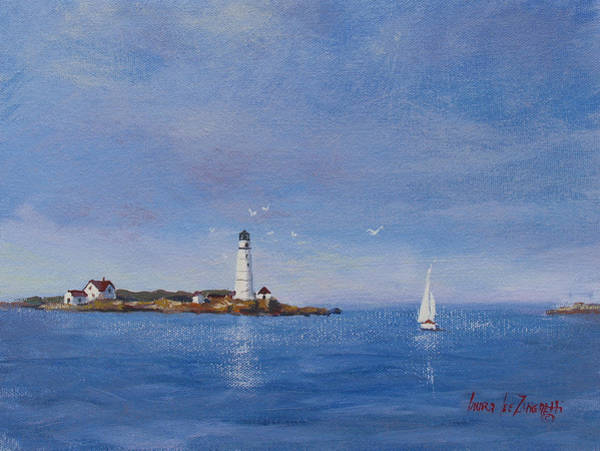 Wall Art - Painting - Sailing To Boston Light by Laura Lee Zanghetti