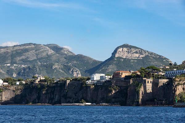 Photograph - Sailing To Sorrento Perched Atop Imposing Cliffs On The Bay Of Naples Italy by Georgia Mizuleva