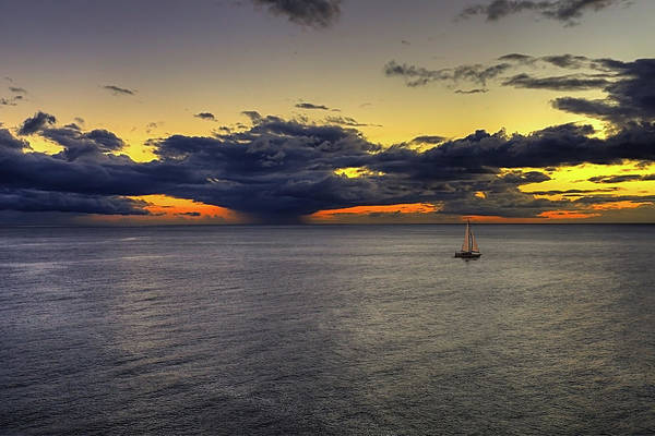 Photograph - Sailing To Sunset by Peter Kennett