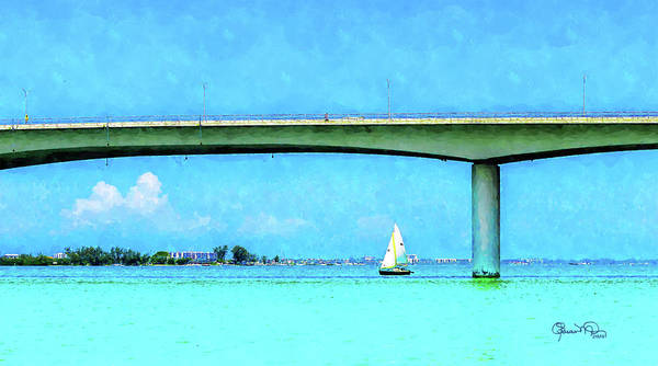 Digital Art - Sailing Under Ringling Bridge by Susan Molnar