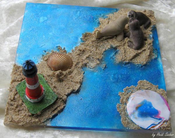 Glass Art - Sailor Bear And Friends by Heidi Sieber