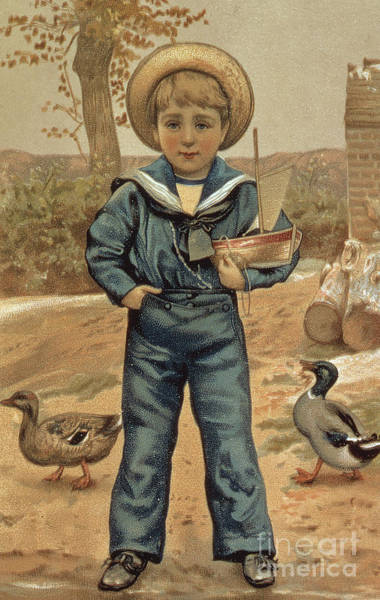 Wall Art - Painting - Sailor Boy With A Boat, Victorian Card by English School