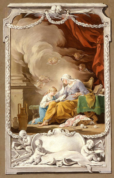 Saint Anne Painting - Saint Anne Revealing To The Virgin The Prophecy Of Isaiah by Noel Halle