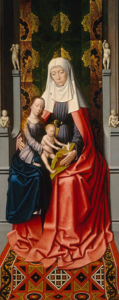 Saint Anne Painting - Saint Anne With The Virgin And Child, Middle Panel by Gerard David