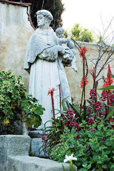 Photograph - Saint Anthony Bronze Statue At Mission Carmel by Renee Hong
