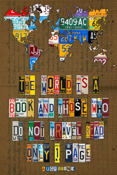 Wall Art - Mixed Media - Saint Augustine Travel Quote Recycled Vintage License Plate Letter Word Art by Design Turnpike