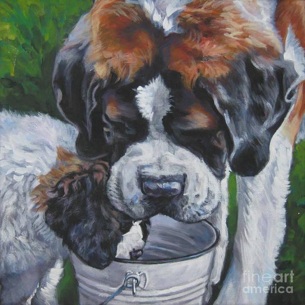 Pup Painting - Saint Bernard And Pup by Lee Ann Shepard