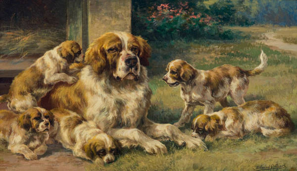 Painting - Saint Bernard And Pups by Celestial Images