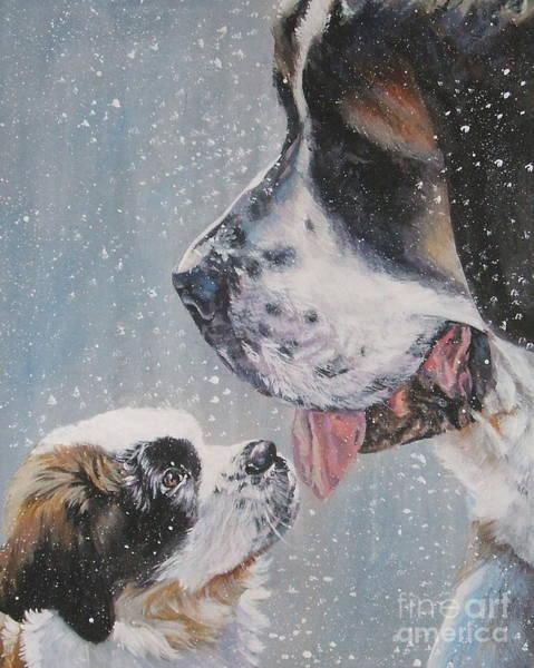 Dad Painting - Saint Bernard Dad And Pup by Lee Ann Shepard