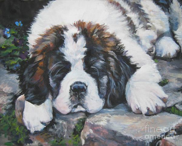 Pup Painting - Saint Bernard Pup by Lee Ann Shepard