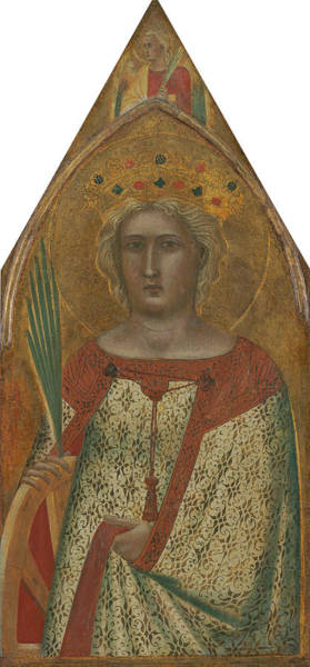Painting - Saint Catherine Of Alexandria, With An Angel  by Pietro Lorenzetti