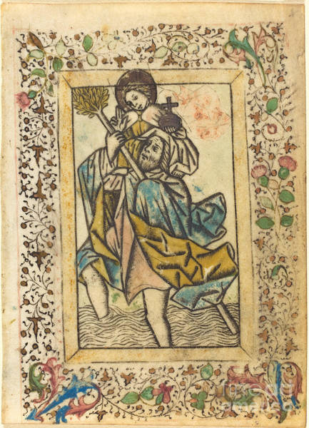 Wall Art - Drawing - Saint Christopher by Master Of The Dutuit Mount Of Olives