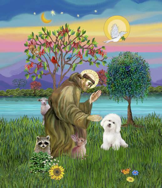 Saint Francis Blesses A Bichon Frise Art Print