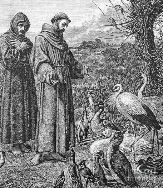 Wall Art - Drawing - Saint Francis Of Assisi Preaching To The Birds by English School