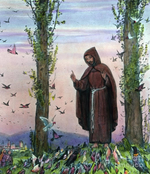 Wall Art - Drawing - Saint Francis Of Assisi Preaching To The Birds by German School