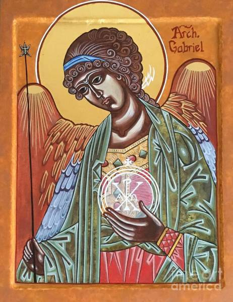 Greek Icon Painting - Saint Gabriel The Archangel Icon by Danielle Tayabas