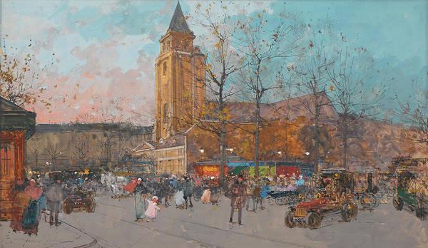 Trolley Car Wall Art - Painting - Saint-germain-des-pres, Paris by Eugene Galien-Laloue