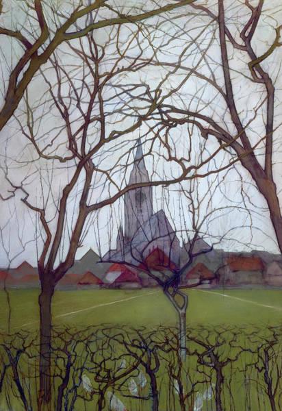 De Stijl Painting - Saint Jacob's Church, Winterswijk by Piet Mondrian