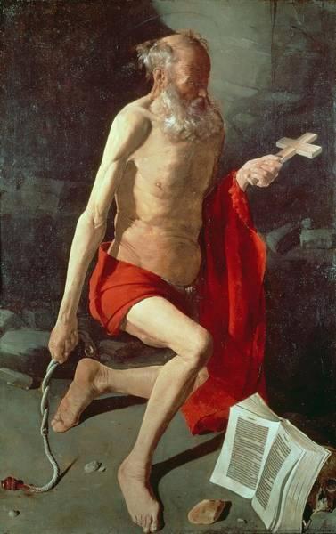 Wall Art - Painting - Saint Jerome by Georges de la Tour