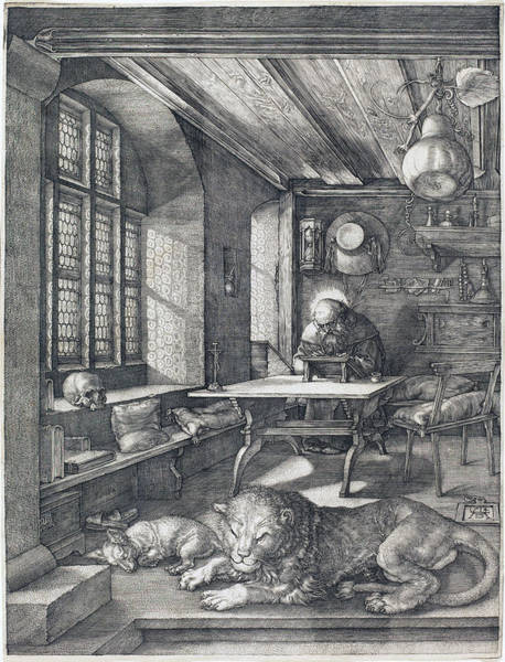 Drawing - Saint Jerome In His Study by Albrecht Durer