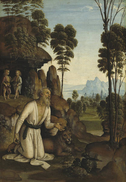 Wall Art - Painting - Saint Jerome In The Wilderness by Follower Of Pietro Perugino